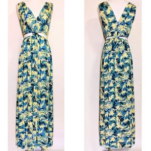 Rachel Pally Modal Print Side Cutout Maxi Dress M